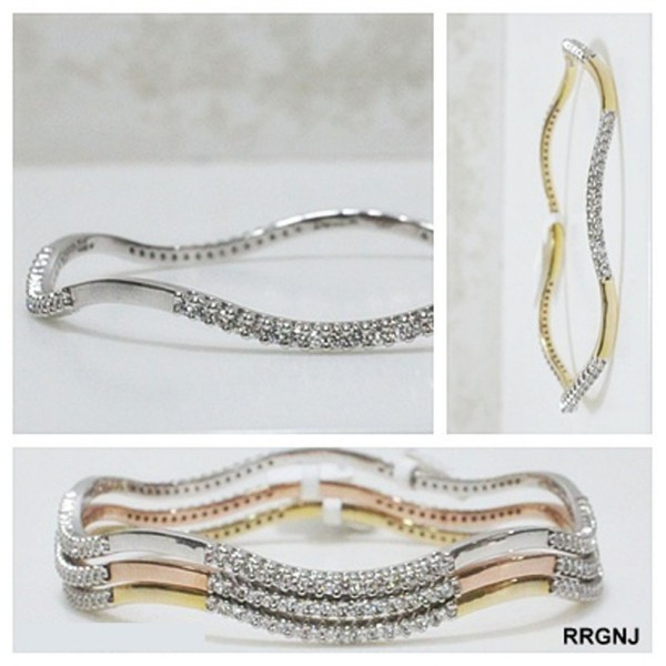 18kt  White Pink and Yellow Gold Diamond Bangles