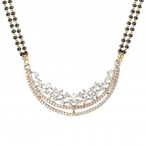 18kt White and Pink Gold Diamond Mangalsutra