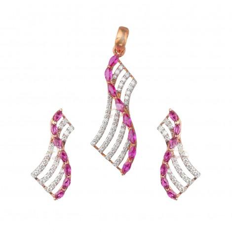 18kt Pink Gold Diamond Pendant Set with Pink Semi Precious Stone