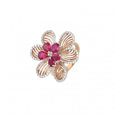 A Classic 18 ct Pink Gold Diamond Ring with Semi Precious Stone flower centers
