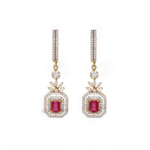 18kt Diamond Stud Earrings with Dangles