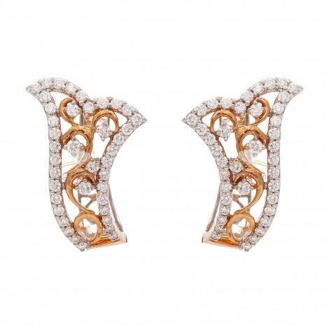 A Beautiful 18kt Pink Gold Diamond Earrings