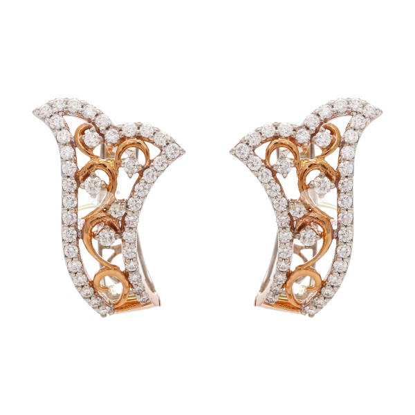 A Beautiful 18kt Pink Gold Diamond Earrings