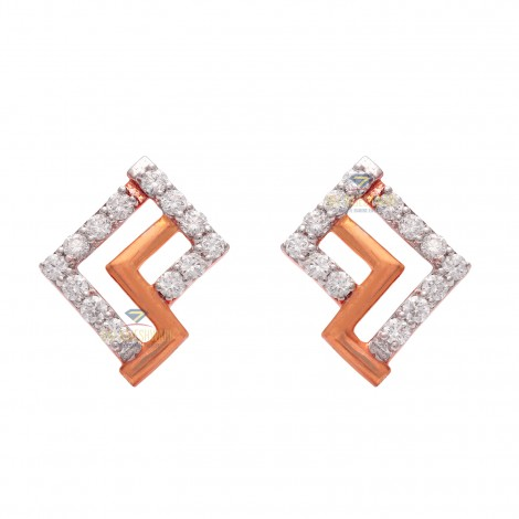 18KT DIAMOND ROSE GOLD EARRING