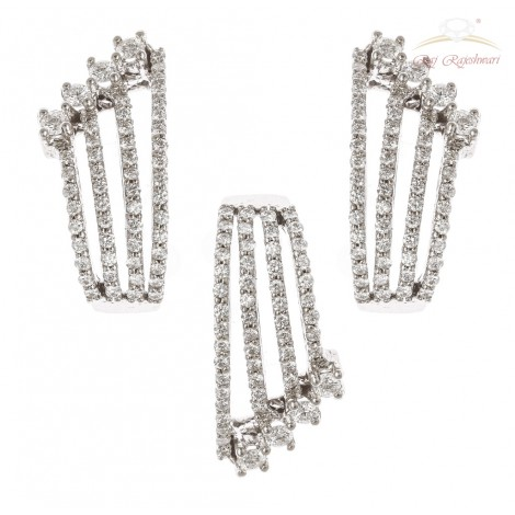 White Gold Diamond Studded indo western pset in 18kt gold
