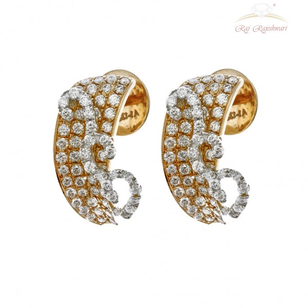 Splendid Diamond Studded Earring in 18kt Gold