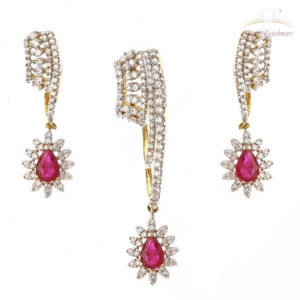 Diamond Studded Pendent Set in 18kt Gold with Ruby