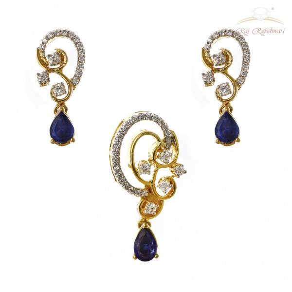 Unique Routine Wear Diamond Studded Pendent Set in 18kt Gold with Blue Sapphire
