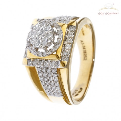 Men's Eva Diamond Ring in 18kt Gold
