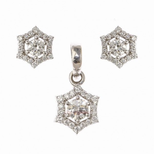 Diamond Stud Pendant Set in 18kt White Gold