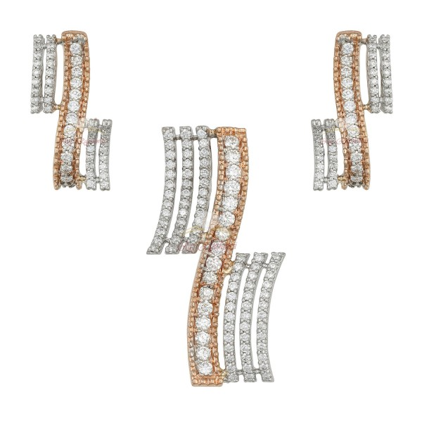 18kt White and Pink Gold Diamond Stud Pendant Set