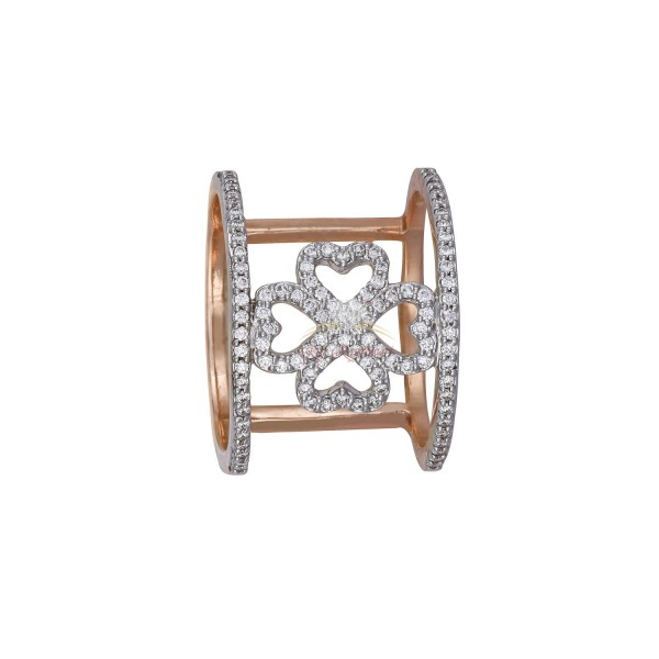 18kt Rose Gold Diamond Ring with Unique Design