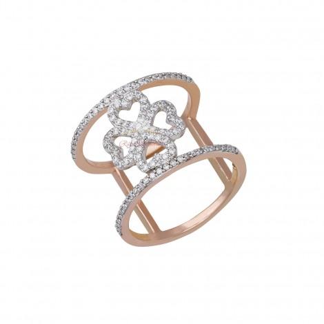 18kt Rose Gold Diamond Ring with Unique Design