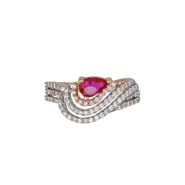18kt Pink and White Gold Diamond Ring with Pink Stone