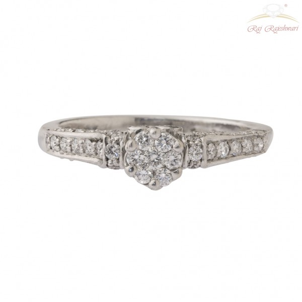 Diamond Studded Ring in 18KT White Gold