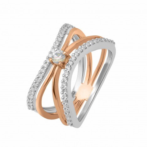 TWISTED DIAMOND RING 18KT ROSE GOLD