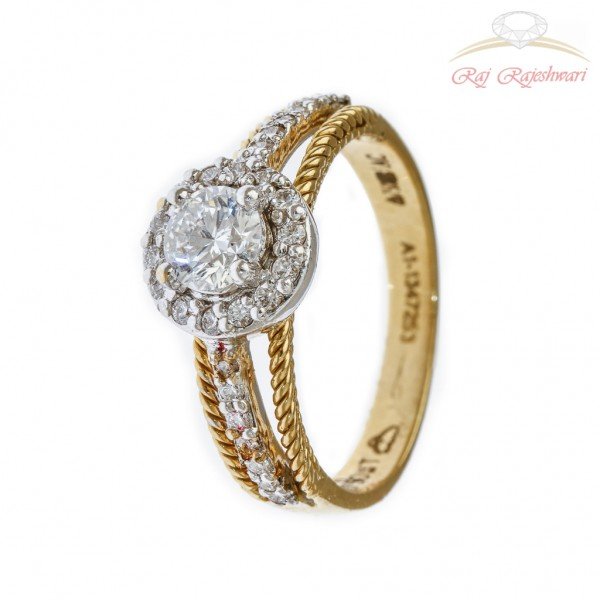 SOLITAIRE DIAMOND RING IN TRADITIONAL VANI 18KT GOLD