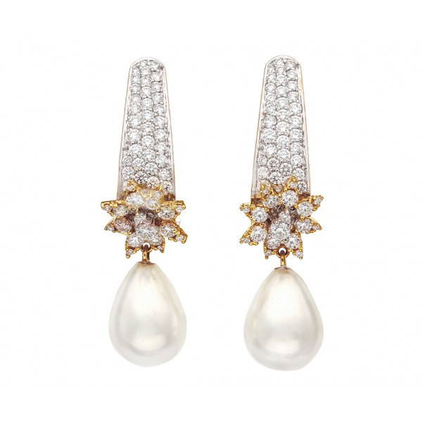 Diamond Stud Earrings With Pearl Drop